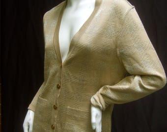 CELINE Paris Gold Metallic Italian Knit Cardigan Size 38