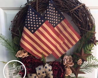 Flag Wreath, Patriotic Wreath, Rustic Wreath, Americana Wreath, 4th Of July Wreath, Front Door Wreath, Wreath Street Floral, Door Wreath