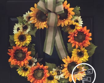 Everyday Wreath, Autumn Wreath, Sunflower Wreath, Front Door Wreath, Wreath Street Floral, Grapevine Wreath, Everyday Wreath, Yellow Wreath