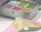 Handmade watercolor palette, watercolour, watercolors, pink, green, violet, gold, Travel Tin, Handmade Shimmer paint, Watercolor mica paints