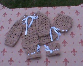 Crochet Baby jacket,Bonnet & booties