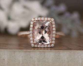 LOW COST Morganite Rose Gold Engagement Ring, Diamond Wedding Band, Cushion 10x8mm Morganite Wedding Ring in 10k Rose Gold with Diamond Halo