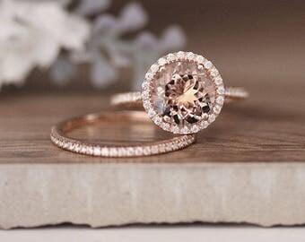 Rose Gold Morganite Ring, Round 9mm Morganite Engagement Ring, Diamond Band, Bridal Ring Set, 14k Rose Gold Morganite Ring