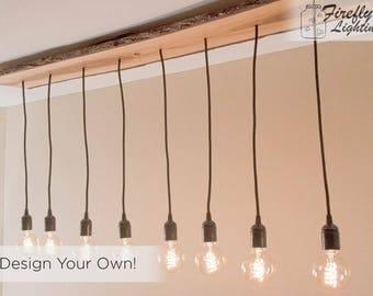 special wooden edison bulb chandelier one of a kind beautiful 8 pendant lighting fixture - Edison Chandelier