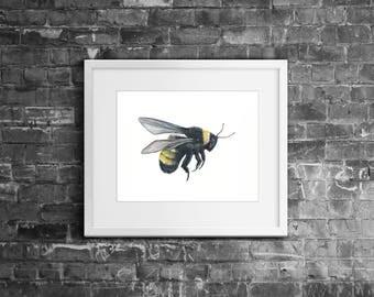 A4 Bumble Bee Watercolour Acrylic Painting Art Gift Xmas