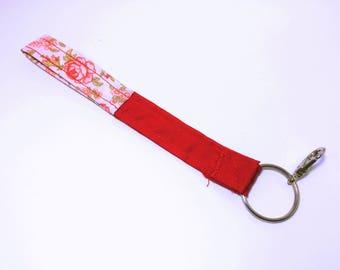 Short Wristlet Key Lanyard- Red/Floral