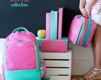Dottie Collection, Dottie Backpack, Dottie Lunchbox, FREE Personalization, Monogrammed Backpack, Monogrammed Lunchbox, Backpack Set