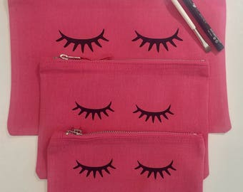 Pink Make Up Bag with Eyelash Detail / Wash Bag / Personalised