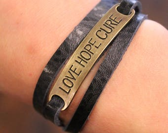 Love Hope Cure Leather Wrap Bracelet