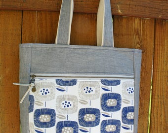 Blue and sterling grey tote, medium tote