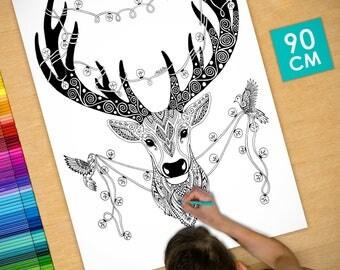 Affiche / Poster déco à colorier (90cm) Cerf de Noël - coloriage pour adulte