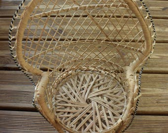 Armchair Emmanuelle for vintage doll - rattan armchair - wicker armchair - France - scoubidou - Collector - vintage toy -
