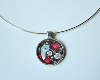 The silver Choker necklace and cherry blossom glass cabochon