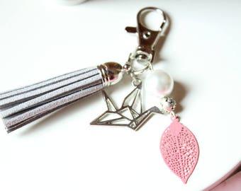 Bag charm key origami bird and grey suede tassel pink filigree leaf