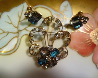 Vintage 12 KT Gold Filled Blue and White  Rhinestone P&F Brooch/Pendant and Earrings
