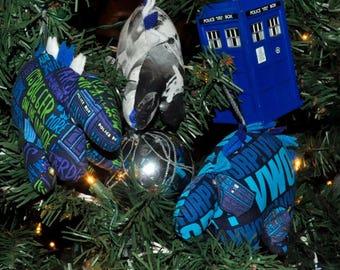 Nerdisaurus Doctor Who Christmas Dinosaur Handmade Handsewn Stegosaurus Ornament