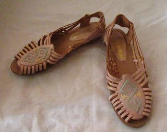 Pair of Tan Leather Huaraches, Size 6