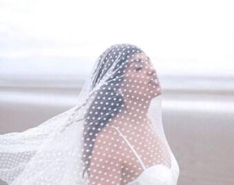 Polka Dot Veil Drop Cathedral Chapel Bridal Wedding