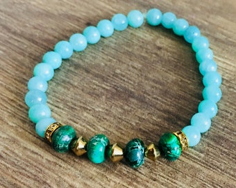 Lagoon: Water Blue & Green Bracelet w/gold accents
