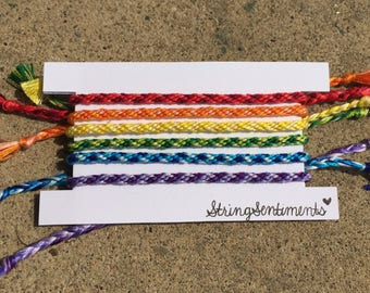 Rainbow Ombre Rounded String Friendship Bracelets (Set of 6)