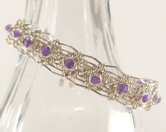 Silver and purple wire woven bracelet