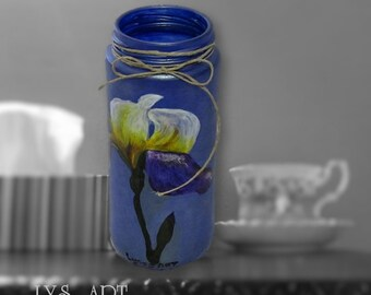 Iris Flower Glass Vase Blue Metallic
