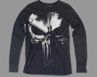 Daredevil Distressed Punisher Men's Long Sleeve Thermal Shirt (DDNTHR01) Black (Pre-Order)