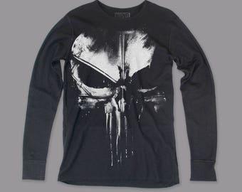 Daredevil Distressed Punisher Men's Long Sleeve Thermal Shirt (DDNTHR01) Black (Pre-Order)