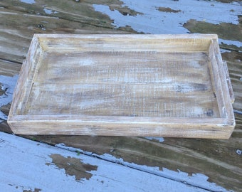 """Whitewashed Tray with Handles    13"""" x 7 1/2"""" x 1 1/2"""""""
