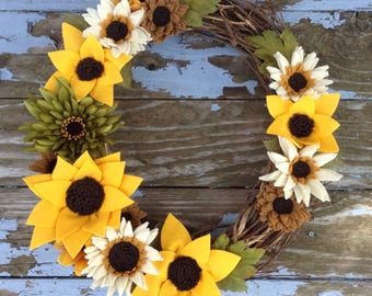 "Sunflower Wreath - Handmade Felt Flowers On 18"" Grapevine Wreath"