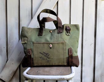 Recycled military canvas bag, leather handles
