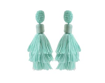 "Jubilee Tassels, Turquoise Tiered Stacked Beaded Tassel Earrings; 3.5""; Easy on the ears!!"
