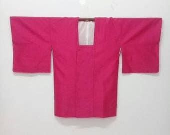 Vintage Japanese Haori Button Jacket/Short Kimono/Pink Kimono Haori
