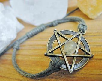 Pentagram and Peridot  Adjustable Green Cord Bracelet