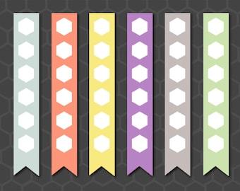 Planner Checklist Flag Stickers, Checklist Flag, Planner Checklist, Inkwell Press, Checklist Stickers, Hexagon Checklist Stickers - CKL005