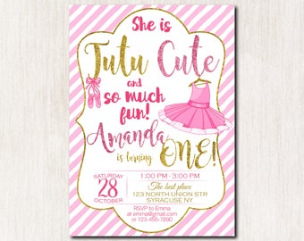 Tutu invitation, Ballerina Pink and Gold invitation, Tutu 1st Birthday invitation, Ballerina 1st Birthday Invitation, Girl Birthday - 1670