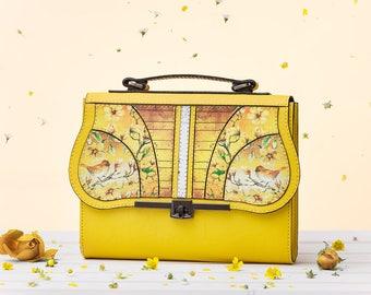 Coloured Symphony - Sunrise Crossbody Bag   Handmade, Eco Leather Bag, Leather, Birds Print, Yellow, Flowers
