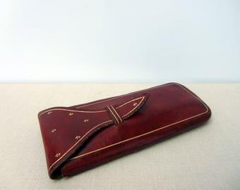 Antique small red gunuine leather case.