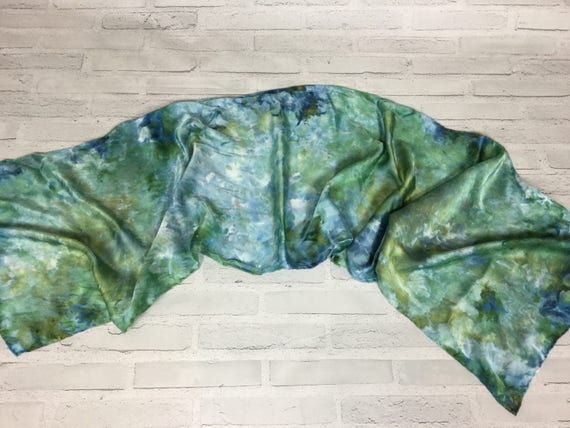 """Tie dye silk scarf 100% Silk Scarf Ice Dyed in Beautiful Multicolor Artistic Watercolor 15""""x60"""" Office Scarves Oblong Rectangle #155"""