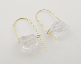 Quartz earrings, Minimalist earrings, Crystal earrings, Gemstone earrings, Rough quartz earrings, Clear quartz earrings