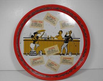 "13"" Round Barware Tray w/Drink Recipes"