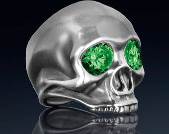 Sterling silver skull ring created emeralds, fine quality handmade mens rock n roll jewelry.  Our JIMI ring was inspired by Jimi Hendrix.
