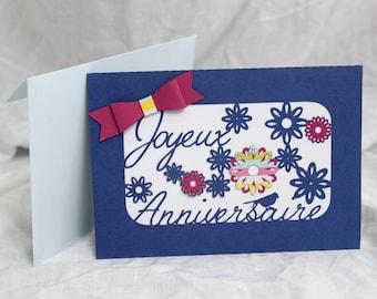 Happy little bird and flowers birthday card