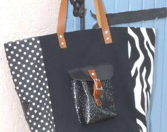 Zebra/black polka dots star style pomponette Pocket tote bag