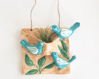 Hanging Air Plant Holder with Birds
