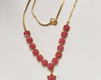 Vintage style Ruby gold plated necklace