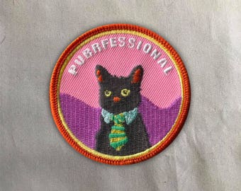 Business Cat Patch | Sew on | Embroidery | Patches for Jackets | Cat Patch | Tumblr Patch | Cat lady Patch | Black Cat Patch | Cute Patch