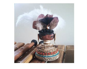 African statue cartons, feathers and polymer clay