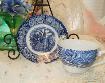 Liberty Blue Cup and Saucer Historic Old North Church 1975-76