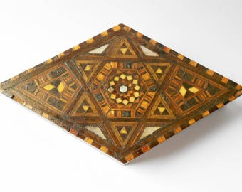 Vintage Inlaid Wooden Box, Diamond Shape With Parquetry Lid, Star Of David, 1920s